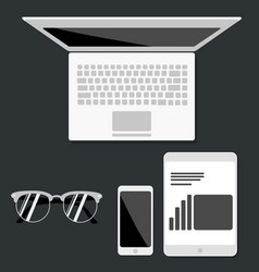 open laptop with digital tablet and white vector image