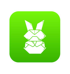 origami bunny icon green vector image