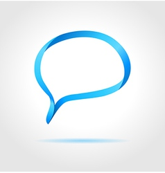 Oval blue speech bubble made from bended lines vector