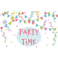 party time sign on serpentine background with vector image