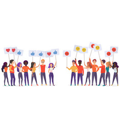 people holding emoji posters flat vector image