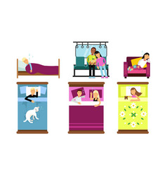 People sleeping in different poses and places vector