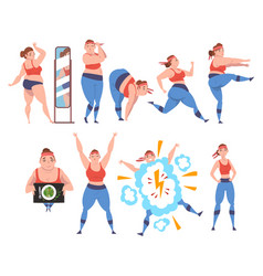 plump girl doing sport exercises set weight loss vector image