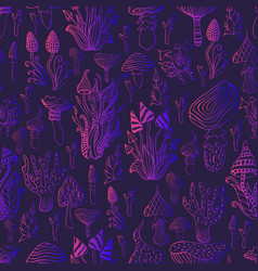 Psychedelic mushroom seamless patternbright pink vector