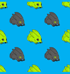Quirky rabbit seamless pattern vector