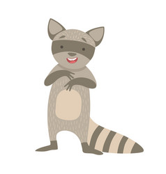 Raccoon cute toy animal with detailed elements vector