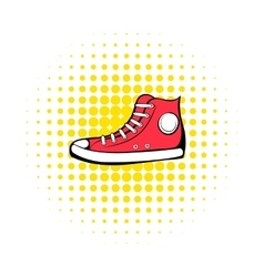 Red sneaker comics icon vector image