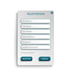 Register web screen with atypical buttons template vector