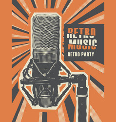 Retro music poster with a realistic microphone vector
