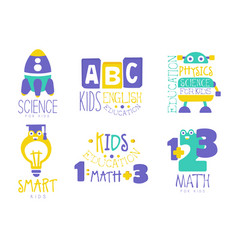 Science for kids logo set english physics math vector