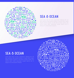 Sea and ocean journey concept in circle vector