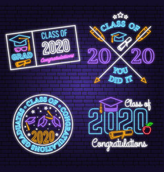 set class 2020 neon bright signboard vector image