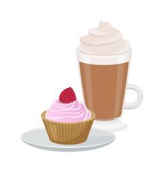 set cute cupcake and latte vector image