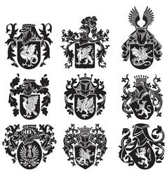 set heraldic silhouettes no2 vector image