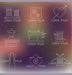 Set sewing tailoring or dressmaking icons on vector