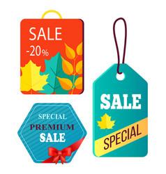 shopping bag design hanging advertisement tags vector image