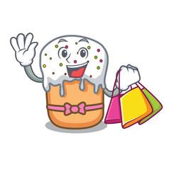 Shopping easter cake character cartoon vector