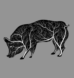 silhouette of a pig with a bush texture vector image