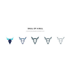 Skull a bull icon in different style two vector
