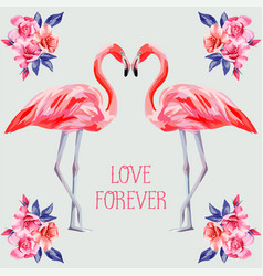 slogan love forever rose and pink flamingos vector image