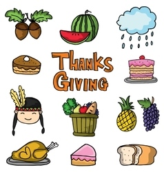 Thanksgiving set collection stock doodles vector image
