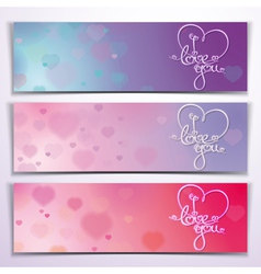 Three I Love You Banners Purple Pink vector