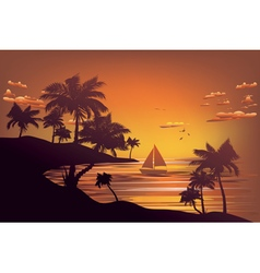 Tropical Island at Sunset4 vector image
