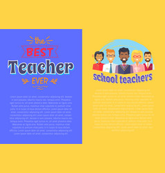 Two posters teacher theme vector
