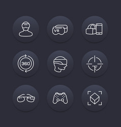 Virtual reality line icons set vector