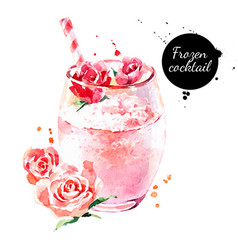 Watercolor hand drawn rose frozen cocktail vector