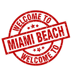 Welcome to miami beach red stamp vector