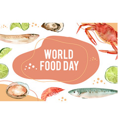 World food day frame design with capelin oyster vector