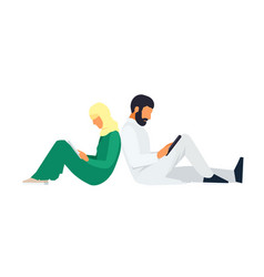 Young muslim couple in a flat style vector