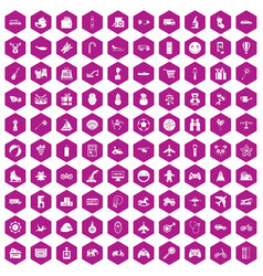 100 toys for kids icons hexagon violet vector image