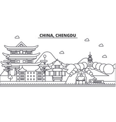 china chengdu architecture line skyline vector image vector image