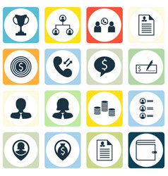 Set of 16 hr icons includes bank payment wallet vector