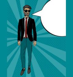 young fashion man in suit pop art portrait vector image