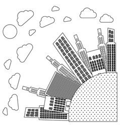figure round city with builds and clouds vector image