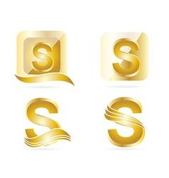 Letter S logo gold set vector image vector image