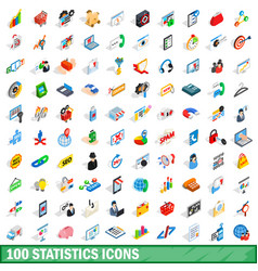 100 statistics icons set isometric 3d style vector image