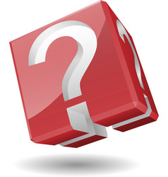 3D cube with question mark symbol vector image