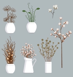 Dried Flowers set vector image