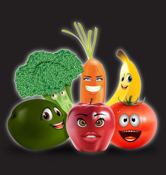 fruits veggies collection 2 vector image vector image