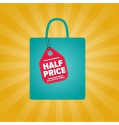 Half price sale sticker on package silhouette vector image vector image