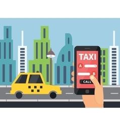 Public taxi online service mobile application vector image vector image