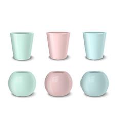 Realistic empty flower pot set pastel vector