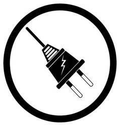 Electric plug black silhouette vector image