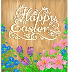 Happy Easter flowers wooden banner vector image vector image