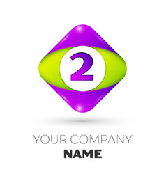 Number two symbol in the colorful rhombus vector
