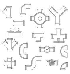 pipeline icons set outline style vector image
